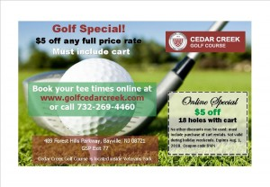 Cedar Creek golf, Retail Me Not coupon